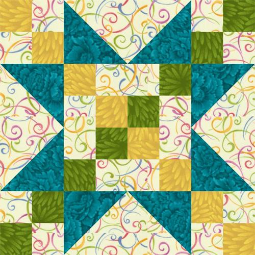 12 Frayed Sawtooth Star Quilt Block Pattern
