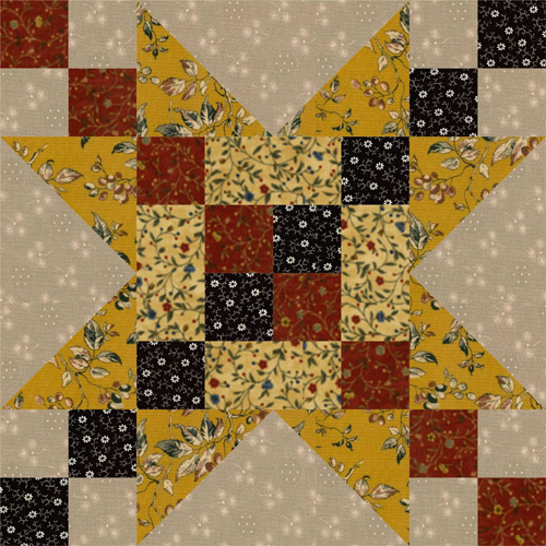 12 Frayed Sawtooth Star Quilt Block Pattern
