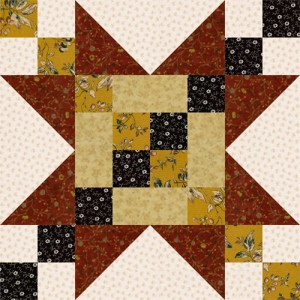 Frayed Sawtooth Star Quilt Block