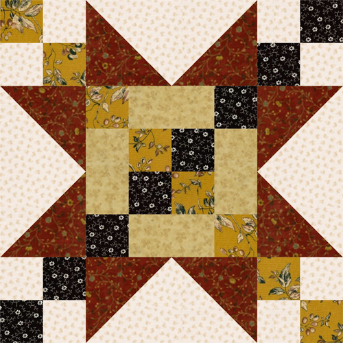 12 Quot Frayed Sawtooth Star Quilt Block Pattern