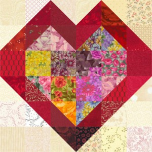 Scrappy Double Hearts Quilt Block Pattern